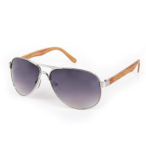 ocona© Unisex Sonnebrille, Fliegerbrille Aviator-Stil und Holzbügel-Optik, lila