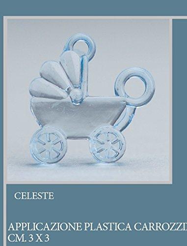 Lot 50 pièces, Bonbonnière application Graphite en plastique, dimension cm 3 x 3, pour marque-place, composition Confetti. (ck6111) bleu ciel