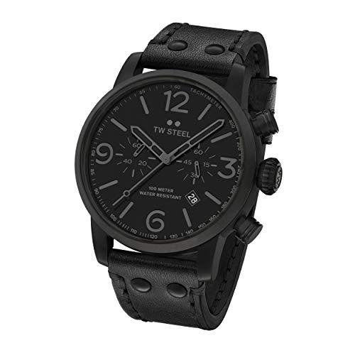 TW Steel Unisex Erwachsene Chronograph Quarz Uhr mit Leder Armband MS114