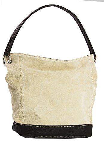 LIATALIA - Tote Bag/Shopper Schultertasche im echtes italienische Veloursleder (Mittelgroß) - 'Denise'(z** (Ausverkauf) - Beige) (Suede-leder-hobo)