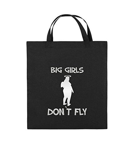 Comedy Bags - BIG GIRLS DON'T FLY - Jutebeutel - kurze Henkel - 38x42cm - Farbe: Schwarz / Silber Schwarz / Silber