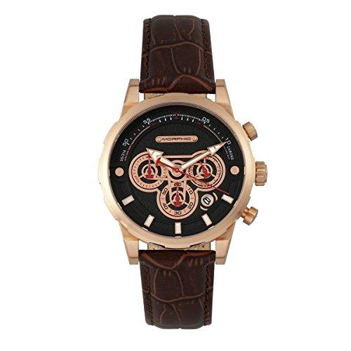 Morphic M60 Series - Reloj cronógrafo de piel con fecha, color oro rosa/marrón