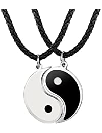 Besteel 3 mm Yin Yang Tai Chi Pendant Necklace Men's Women's Leather Friendship Pair 56 + 5 cm Necklace