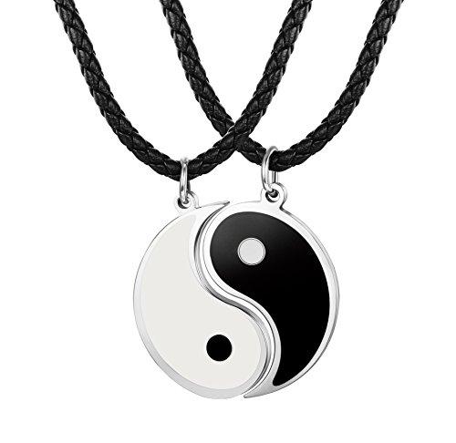 8d6f6bcc5abc Besteel 3MM Collar Cuero Yin Yang para Hombre Mujer Colgante Taichi Acero  Inoxidable Collar Pareja Cadena