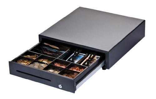 DIGIMEX Professionelle Kassenlade, 8 Scheinfächer (vertikal), 8 Münzfächer, schwarz, Robuste Frontöffnung Kassenschublade, Standardanschluss für Kassendrucker