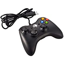 JAMSWALL Xbox 360 Controlador de Gamepad, Mando para PC Windows XP/7/8/10 (Negro)