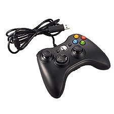 JAMSWALL Xbox 360 Controlador de Gamepad, Mando para PC Windows XP/7/8/10 (Negro)