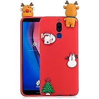Für HuaWei Mate10 Lite Weihnachten Series Fall Abdeckung, HengJun Weihnachten Slim Soft Silikon Fall 3D Kreative Mode Cool Cartoon Nette Shockproof Gummi Fall für HuaWei Mate10 Lite - Deer & Santa Claus Red