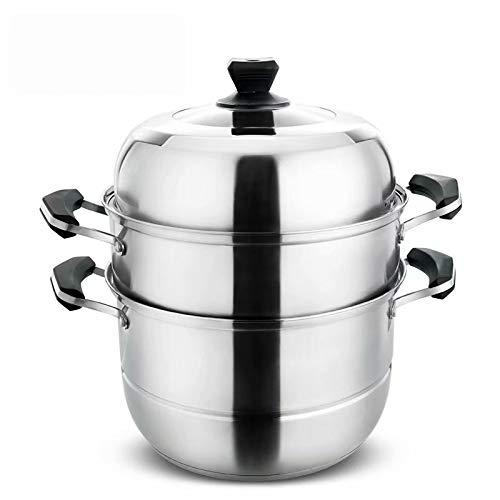 Xt - steamer [pentola per zuppa in acciaio inossidabile | pentole di alta qualità | con coperchio in vetro e manico in bachelite | 30 cm | per tutti i piani cottura, compresa l'induzione