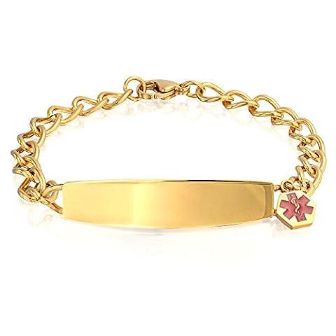 Bling Jewelry Womens Medical Alert en acier plaqué or Red Enamel 7.5in gravure gratuitement Bracelet d'identification