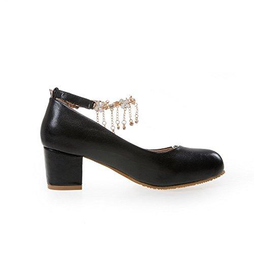 AgooLar Femme Mosaïque Pu Cuir à Talon Correct Rond Boucle Chaussures Légeres Noir