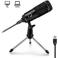 ARCHEER Micrófono PC, Micrófono USB Micrófono Condensador Volumen Ajustable Plug & Play con Soporte Trípode Micrófono de Metal para Grabación Vocal/Skype/Podcasting/Video de Youtube/Aprender en línea