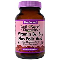 Bluebonnet Nutrition, EarthSweet Chewables, Vitamin B6, B12 Plus Folic Acid, Natural Raspberry Flavor, 60 Chewable Tablets