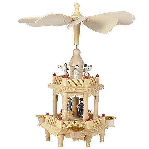 Weihnachts-Pyramide Krippenszene und Engel, 2 Etagen, H: 25 cm, natur, handbemalt im Erzgebirgestil