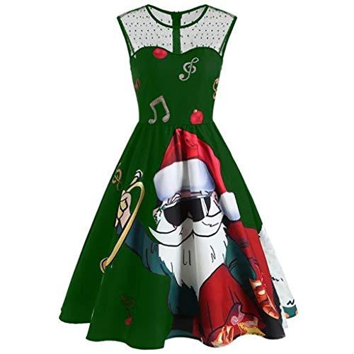 LILIGOD Weihnachtskleid Damen Vintage Spitzenkleid O-Ausschnitt Ärmellos Partykleider 1950er Rockabilly Kleid Elegant A-Linien Kleid Knielang Hepburn Kleid Sexy Cocktailkleid