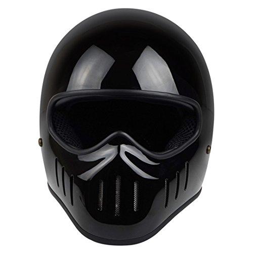 Fiberglas Full Face Motorrad Helm für Vintage Retro Lokomotive Moto Helme für Harley Helm Gloss Black XL (Vintage Motorrad-zahnrad)