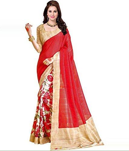 Zaarafashion Bhagalpuri Cotton Saree (1_Red)
