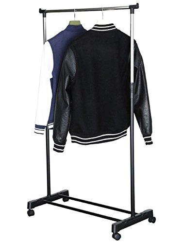 Mobiler Kleiderständer mit 4 Rollen (Kleiderstange, Garderobenständer, Garderobe, höhenverstellbar, Breite 81 cm, Camping-Kleiderschrank)