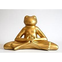 Suerte meditando Rana en Lotus Asiento en oro de imitación