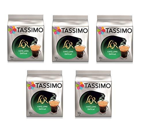 TASSIMO LOr Café Long Délicat - 5 paquetes de 16 cápsulas: Total 80 unidades