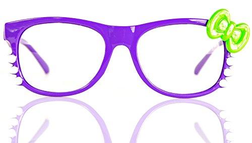 NERD-Brille Kitty ohne Seh-Stärke Damen Fenster-Glas Fasching Karneval Lila Grün Panto-brille Wayferer Horn-Brille Party-Brille