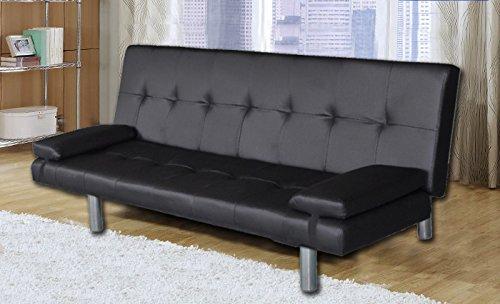 Divano letto moderno 3 posti ecopelle reclinabile nero soggiorno sofa