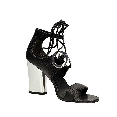 What For 066 Sandali Donna Pelle Nero Nero 37 Black