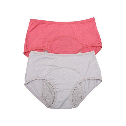 Fibra de viscosa de bambú High-Rise breve período menstrual fisiológico bragas estancos Multi Pack Tamaño 36-44 (42, La elegancia rojo,gris)