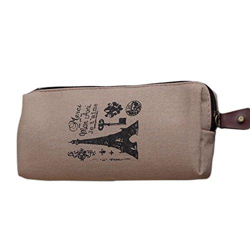 Cdet 1Pcs Gedruckten Süß Leinwand klein Kosmetiktasche Federmäppchen Teenager Jungs Mäppchen Pencil Case Bag Mit Reißverschluss,18 * 8cm,Khaki