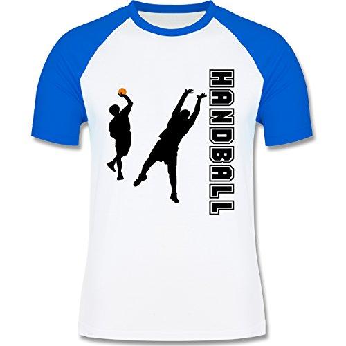 Handball - Handball Wurf Verteidigung - zweifarbiges Baseballshirt für Männer Weiß/Royalblau