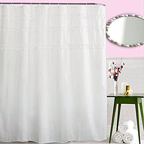 ToHa Rideau de Douche de Dentelle,Tissu en Polyester Imperméable et Résistance au Mildiou Pur Blanc 180cmx200cm