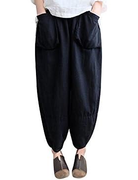 SOMESUN Donne Pantaloni Oversize Larghi Etnici Vintage Plus Size Vita Elastica Harem In Cotone e Lino a Gamba...