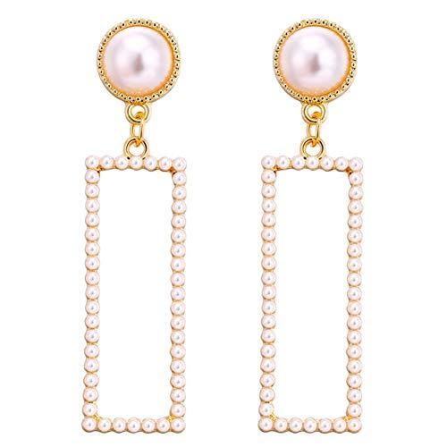 JNFRUO Lange geometrische Tropfen Ohrringe Gold Farbe Rechteck Perle Ohrring für Frauen Partei Schmuck Geschenk