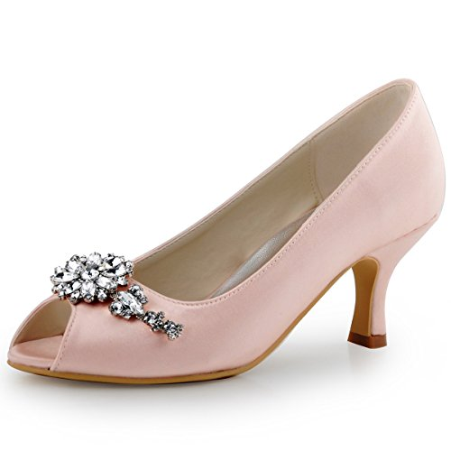 ElegantPark HP1541 Damen Satin Peep Zehen Schuh Clips Pumps Partei Tanz Abendschuhe Pink