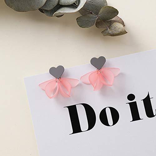 GQUB Silber Nadel Mädchen Acryl Blume Ohrringe Herz Lilie Blütenblatt Niedlichen Ohrring Für Frauen Mode Accessoires Schmuck Mais Lilie