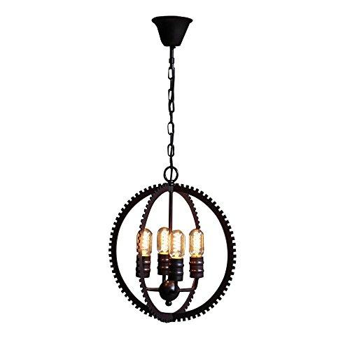 Henley Pendelleuchte Retro Industrie Stil Beleuchtung Hängelampe Vintage Kreative Kronleuchter Edison Lampe Metall Rund Design E27*4 Pendellampe für Restaurant Café Bars Ø40CM -