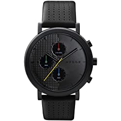 Hygge 2204 Unisex Quartz Watch with Black Dial Chronograph Display and Black Leather Strap MSL2204BC(BK)