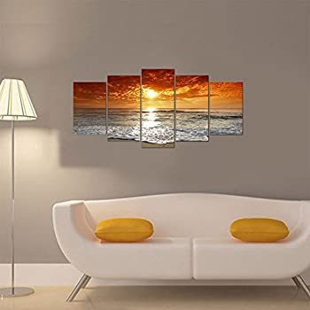 Wieco Art - Grand Sight Extra Large 5 Panels Modern Landscape Artwork HD Seascape Giclee Canvas Prints Sea Beach Pictures to Photo Paintings on Canvas Wall Art for Home Decorations Wall Decorations
