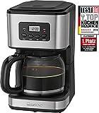 Clatronic KA 3642 Kaffeefiltermaschine für 12-14 Tassen 1,5 L, Edelstahlfront,Timer, Inox schwarz