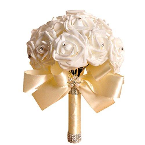 uß mit Blumen Kristall Rosen Perlen Brautjungfer Hochzeit Blumenstrauß Brautstrauß Kunstseide Blumen beige ()