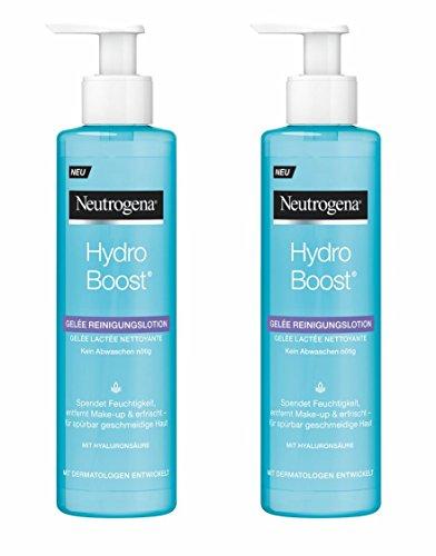 Neutrogena Hydro Boost Gelée Reinigungslotion - leichte Gel-Lotion Formulierung mit Hyaluronsäure und Glycerin - 2 x 200ml