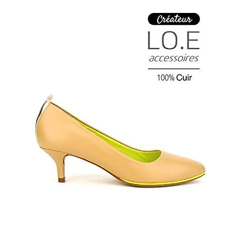 Cendriyon, Escarpin CUIR Veau Caramel VOLTA Chaussures Femme Taille 41
