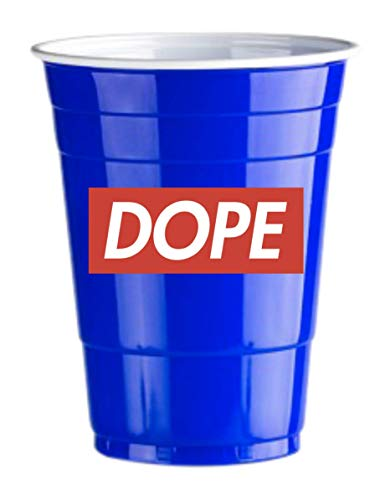 50 Gobelets Américain Bleues Dope Logo Blue Cups Design - Party Beer Pong Original 500 ML - Grand jetables Verres en Plastique 16oz - Double imprimés College & Anniversaire Tasses | Red Celebratio