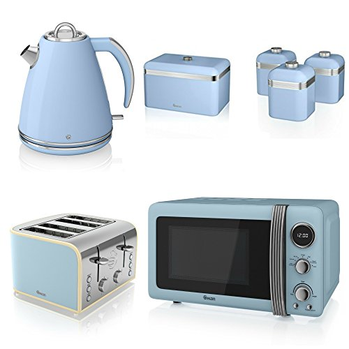 Swan Kitchen Appliance Retro Set - 20l Blue Microwave, 1.5l Jug Kettle, 4 Slice Toaster, Retro Breadbin And 3 Canisters Set