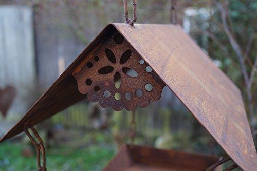 Edelrost Vogelhaus mit Ziervogel zum Aufhängen - 3