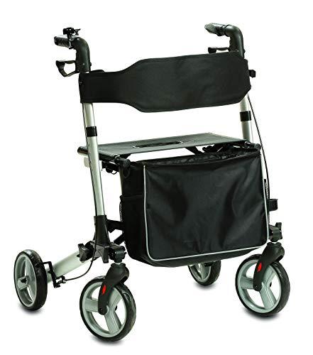 maxVitalis Leichtgewicht-Rollator faltbar, Signalklingel, Sitzfläche mit extra breiter Rückenlehne, abnehmbare Einkaufstasche, Transporttasche, Leichtlaufräder, belastbar bis 130 kg