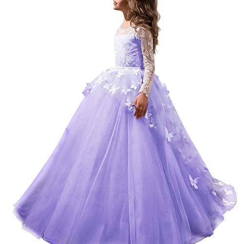 Vestito Elegante da Ragazza Festa Matrimonio Damigella Donna Sposa Cerimonia Prima Comunione Battesimo Carnevale Ballerina Abiti #11 Viola 8-9 Anni