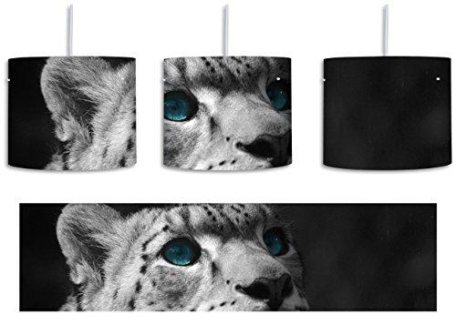Anmutiger Schneeleopard Blaue Augen schwarz/weiß inkl. Lampenfassung E27, Lampe mit Motivdruck, tolle Deckenlampe, Hängelampe, Pendelleuchte - Durchmesser 30cm - Dekoration mit Licht ideal für Wohnzimmer, Kinderzimmer, Schlafzimmer (Schwarz Himalaya-katze)
