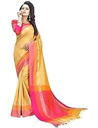 Perfectblue Women's Cotton Silk Saree With Blouse Piece (OrangeHalf HalfVariation_Orange)