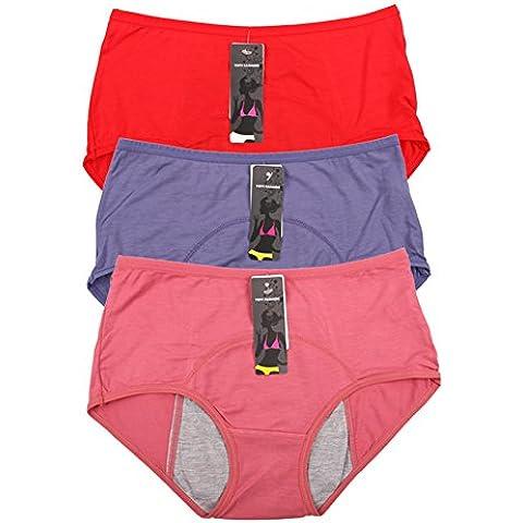 Bambù fibra di viscosa High-Rise breve mestruale mutandine stagni Multi pack Size (Maternità Bikini Mutandine)